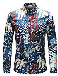 Недорогие -Муж. С принтом Рубашка Уличный стиль Цветочный принт Контрастных цветов Животное