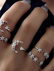 cheap -Women's Alloy Moon / Star Ring Set - 5pcs Circle Basic / Fashion Silver Ring For Daily / Date