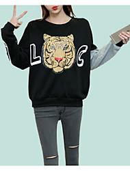 abordables -Femme Mignon Basique Sweatshirt - Imprimé, Couleur Pleine
