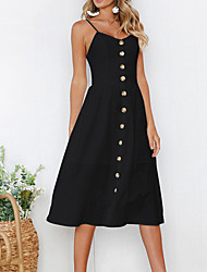 cheap -Women's Going out Basic Street chic Slim Sheath Dress - Solid Colored Black, Backless Strap