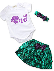 cheap -Baby Girls' Daily Holiday Print Clothing Set, Cotton Polyester Summer Cute Casual Short Sleeves Green 90 100 80 70