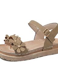 cheap -Women's Shoes PU Summer Light Soles Sandals Flat Heel Open Toe Lace-up for Casual Black Green Khaki
