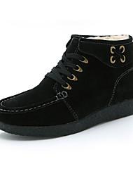 povoljno -Žene Cipele Nubuk koža Zima Čizmice Čizme Ravna potpetica Čizme gležnjače / do gležnja za Kauzalni Crn Bijela Crvena