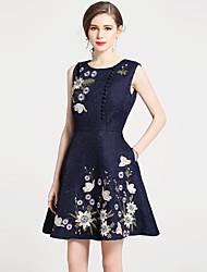 baratos -Mulheres Vintage Moda de Rua Evasê Vestido - Bordado, Floral Mini