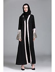 baratos -Mulheres Feriado Boho Manga Alargamento Solto Reto Vestido - Renda, Sólido Decote U Cintura Baixa Longo