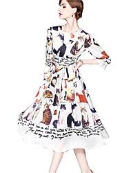 Недорогие -Жен. Классический Уличный стиль С летящей юбкой Платье - Животное Средней длины