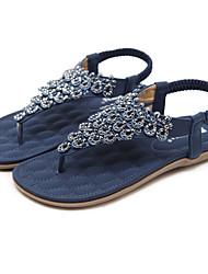 Недорогие -Жен. Обувь Полиуретан Весна / Лето Удобная обувь / Оригинальная обувь Сандалии На плоской подошве Оксфорды Стразы Синий / Миндальный