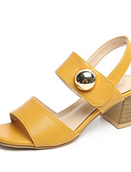 cheap -Women's Shoes PU Summer Comfort Sandals Low Heel Round Toe for Black Beige Yellow