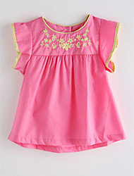 cheap -Girls' Solid Colored Jacquard Blouse, Cotton Summer Sleeveless Blushing Pink