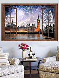 Недорогие -Наклейка на стену Декоративные наклейки на стены - Простые наклейки Пейзаж 3D Положение регулируется Съемная