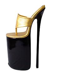 Недорогие -Жен. Обувь Полиуретан Лето Туфли лодочки Обувь на каблуках На шпильке Открытый мыс Золотой / Для вечеринки / ужина