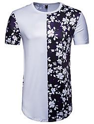 baratos -Homens Camiseta Moda de Rua Estampado, Floral Estampa Colorida