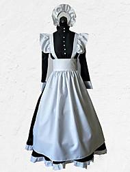 abordables -Tenus de Servante Tenue Costume Homme Femme Tenue Noir avec Blanc Vintage Cosplay Polyester Manches 3/4 Déguisement d'Halloween