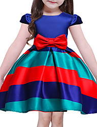 cheap -Girl's Going out Holiday Striped Dress, Polyester Short Sleeves Cute Princess Blue
