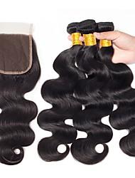 cheap -4 Bundles Malaysian Hair Body Wave Unprocessed Human Hair / Virgin Human Hair Hair Weft with Closure Black Natural Color Human Hair Weaves Sexy Lady / New Arrival / Coloring Human Hair Extensions