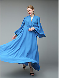 cheap -Women's Sophisticated Street chic Flare Sleeve Bodycon Sheath Swing Dress - Solid Colored, Ruffle