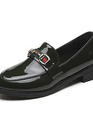povoljno -Žene Cipele PU Proljeće Jesen Udobne cipele Natikače i mokasinke Niska potpetica Okrugli Toe za Kauzalni Crn Zelen