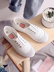 baratos -Mulheres Sapatos Lona Primavera Outono Conforto Mocassins e Slip-Ons Sem Salto Ponta Redonda para Casual Branco Preto Cinzento