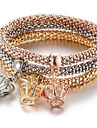 abordables -Homme Femme Strass Bohème Forme de Couronne 3pcs Charmes pour Bracelets Bracelet - Rétro Bohème Mode Forme de Couronne Arc-en-ciel