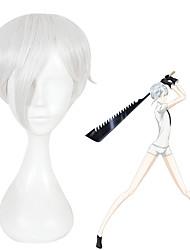 Недорогие -Парики из искусственных волос Прямой Ассиметричная стрижка Искусственные волосы Природные волосы Серебряный Парик Жен. Короткие Без шапочки-основы Серебряный