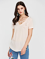 cheap -Women's Going out T-shirt - Solid Colored Criss-Cross / Summer / Lace up