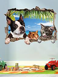 Недорогие -Наклейка на стену Декоративные наклейки на стены - 3D наклейки Животные 3D Положение регулируется Съемная
