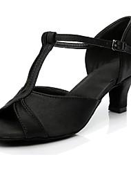 cheap -Women's Latin Shoes Silk Heel Customized Heel Customizable Dance Shoes Black / Indoor / Practice