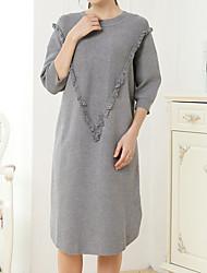 levne -Dámské Bavlna A Line Šaty - Jednobarevné, Plisé Midi