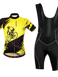 cheap -WOSAWE Men's Cycling Jersey with Bib Shorts - Black / Yellow Bike Bib Shorts / Jersey / Clothing Suit, Breathable, Reflective Strips Polyester / Stretchy