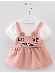 preiswerte -geometrisches Kleid des Babys, Polyester-Sommer kurze Hülsen gelb erröten rosa Grün 80 110 100 90