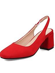 Недорогие -Жен. Обувь Нубук Весна / Лето Удобная обувь Обувь на каблуках На толстом каблуке Квадратный носок Пряжки Черный / Красный / Миндальный