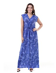 cheap -TS - Sweet Curve Women's Plus Size Boho Swing Dress - Floral High Waist Maxi V Neck