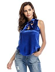 baratos -Mulheres Blusa Fofo Moda de Rua Laço Cordões, Sólido