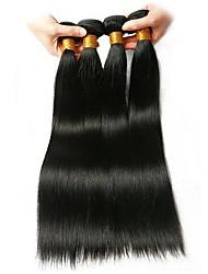 baratos -4 pacotes Cabelo Brasileiro Liso Cabelo Humano Extensões de Cabelo Natural 8-28 polegada Tramas de cabelo humano extensão / Melhor qualidade Côr Natural Extensões de cabelo humano Mulheres