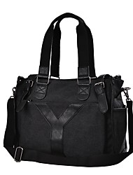 cheap -Men's Bags Canvas Tote Beading / Zipper Black / Brown