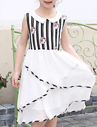 cheap -Girl's Daily Holiday Striped Geometric Anime Dress, Polyester Summer Sleeveless Cute Cartoon Princess White