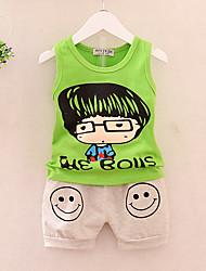 cheap -Boys' Daily Holiday Print Clothing Set, Cotton Acrylic Spring Summer Sleeveless Cute Active Green Yellow