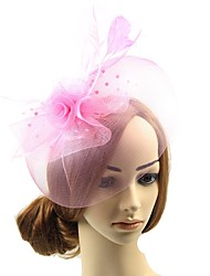 cheap -Net Feathers Fascinators Hats Headpiece Hair Accessory Hair Clip with Feather 1pc Wedding Special Occasion Headpiece
