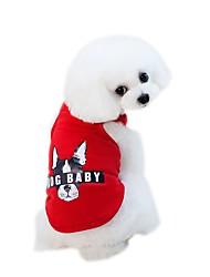 baratos -Cachorros Colete Roupas para Cães Sólido Desenho Animado Cinzento Vermelho Azul Rosa claro Tecido Alcochoado Ocasiões Especiais Para