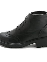 povoljno -Žene Cipele Koža Zima Vojničke čizme Udobne cipele Čizme Kockasta potpetica Čizme gležnjače / do gležnja za Kauzalni Crn