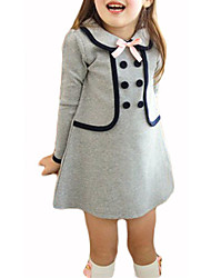 cheap -Girl's Solid Colored Dress, Rabbit Fur Cotton Winter Fall 3/4 Length Sleeves Bow Navy Blue Gray