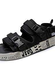 baratos -Homens sapatos Lona Verão Solados com Luzes Conforto Sandálias Presilha para Casual Ao ar livre Preto Arco-íris