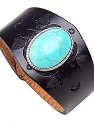 cheap -Men's Turquoise Geometric Chain Bracelet / Leather Bracelet - Leather Vintage, Rock Bracelet Black / Brown For Street / Club