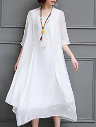 cheap -Women's Simple Vintage Swing Dress - Geometric, Print