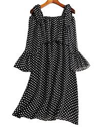 cheap -Women's Chiffon Dress - Polka Dot Strap