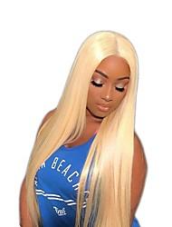 cheap -Virgin Human Hair Full Lace Wig Brazilian Hair Straight 150% Density With Baby Hair Blonde Women's Short / Long / Mid Length Human Hair Lace Wig