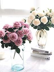 baratos -Flores artificiais 1 Ramo buquês de Noiva / Pastoril Estilo Rosas Flor de Mesa