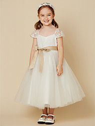 cheap -A-Line Tea Length Flower Girl Dress - Lace / Tulle Short Sleeve V Neck with Bow(s) / Sash / Ribbon by LAN TING BRIDE®