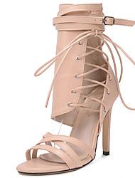 preiswerte -Damen Schuhe Pelz Sommer Herbst Pumps Gladiator Sandalen Stöckelabsatz für Party & Festivität Schwarz Mandelfarben