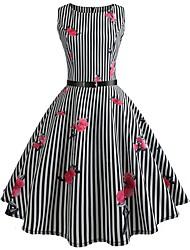 cheap -Women's Vintage Swing Dress - Striped Floral Print